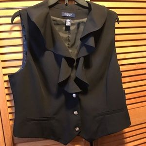 Chaps Black Vest with Ruffled Collar